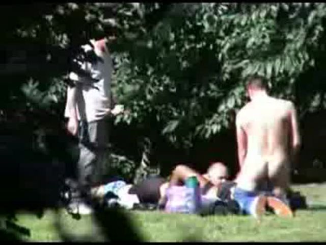 horny couple having sex in public park with tight pussy babe